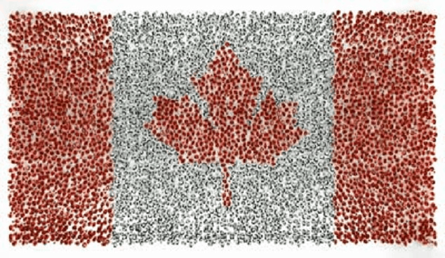 Canada flag made of diamonds