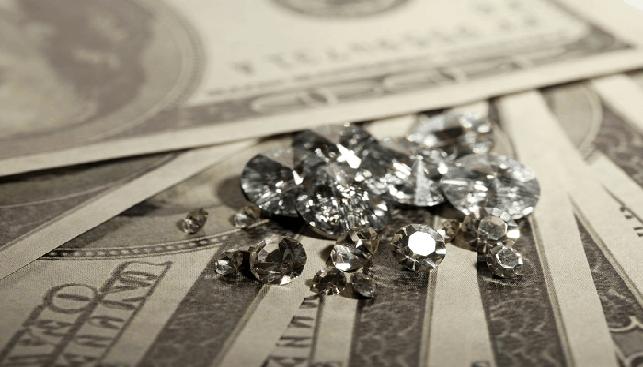 Diamonds and money bills