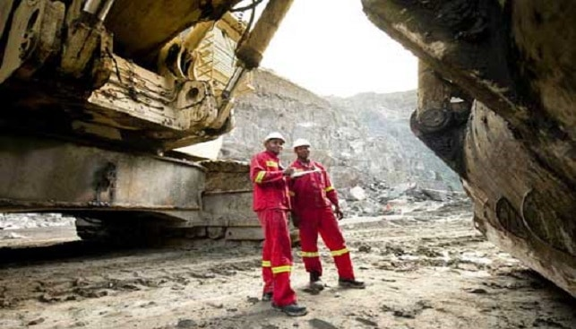 Pre-shift inspection of the 50 ton Terex RH 200 shovel at Venetia Mine