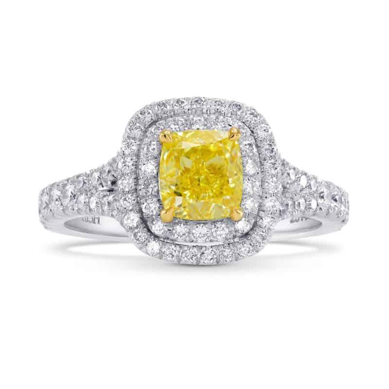 Leibish Fancy Intense Yellow Cushion Diamond Double Halo Ring