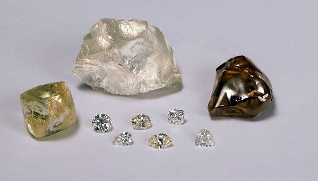Rough and polished diamonds by De Beers