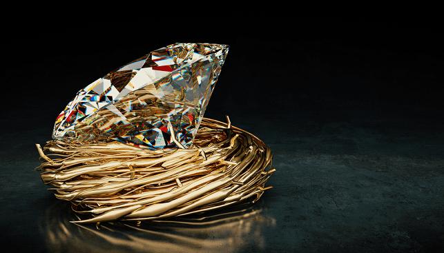 One big Diamond in nest