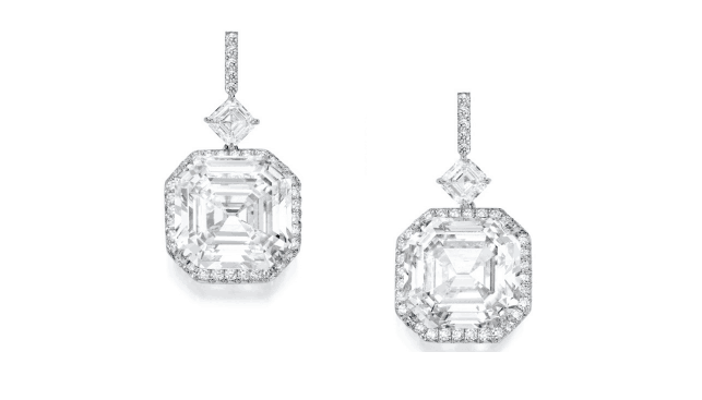 Extraordinary pair of platinum and diamond earrings. Sold for $5,300,000.