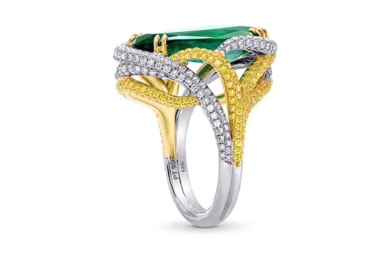 Emerald and Diamond Ring by Leibish