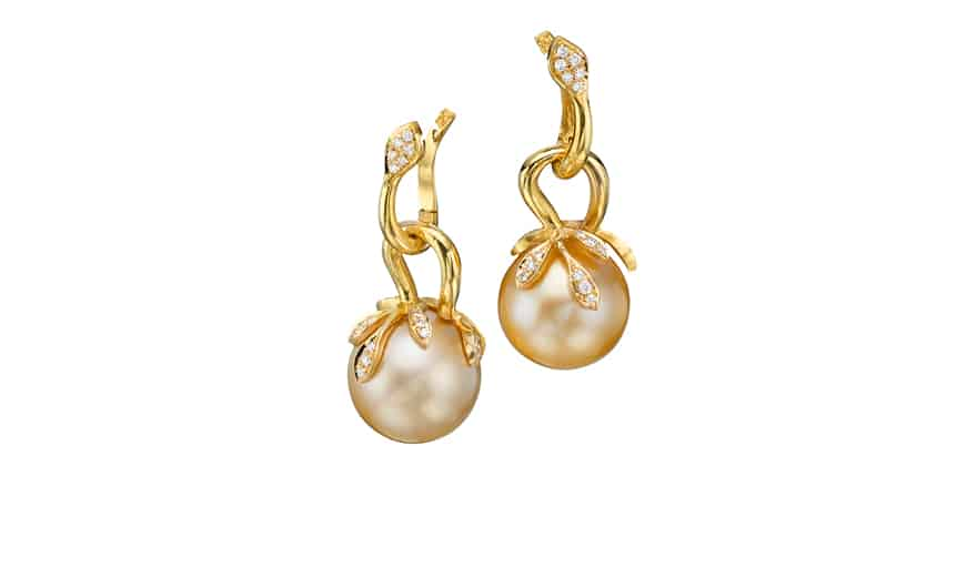 Gold, diamond, and golden pearls earrings