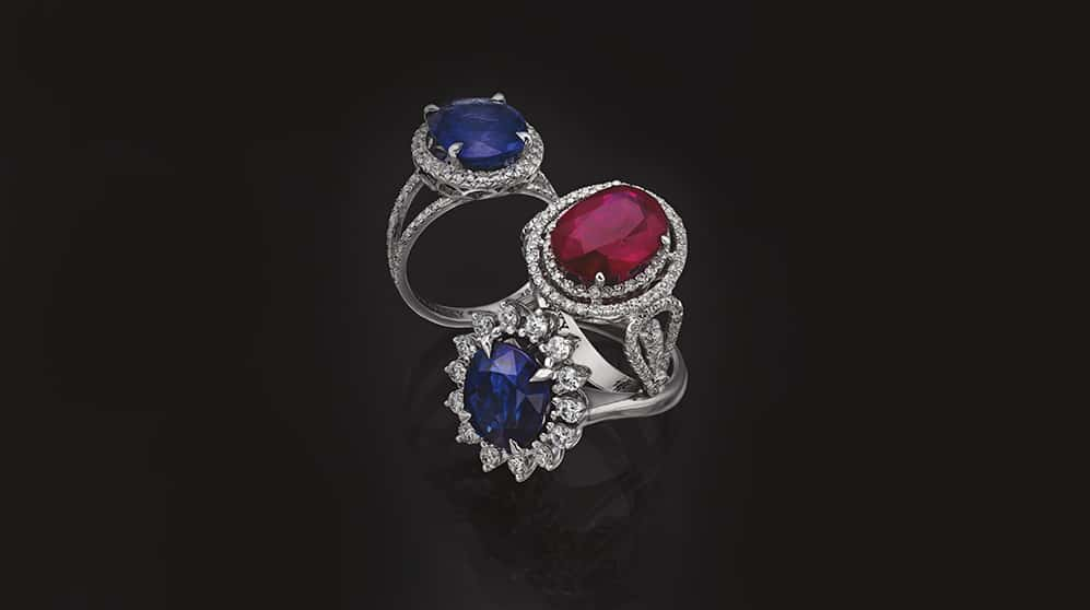 Rings with Ruby, Blue Sapphire