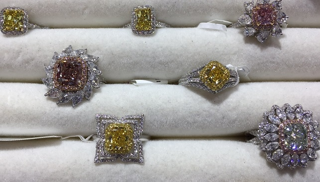 White yellow diamond jewelry