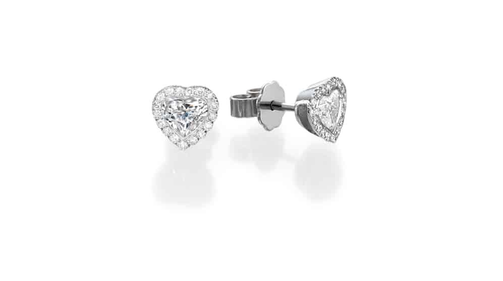 Stud diamond heart earrings