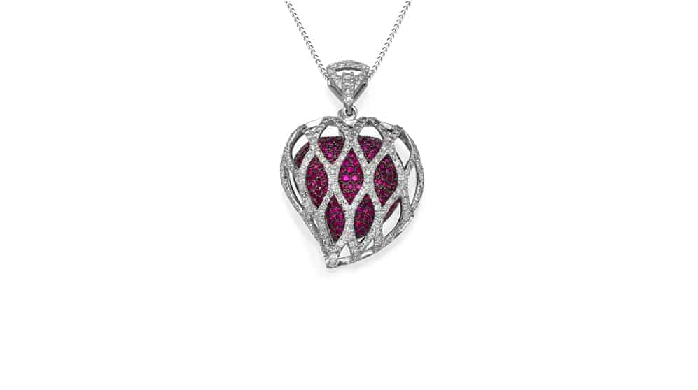 ruby diamond gold pendant
