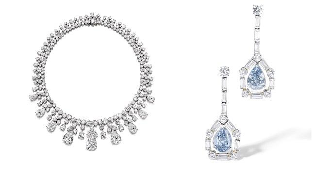blue diamond pendant earrings