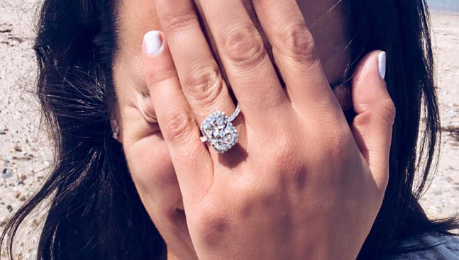 Lea Michele engagement diamond ring