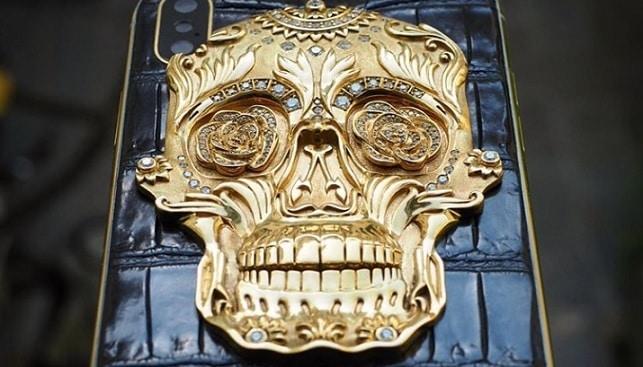 diamond skull gold iphone