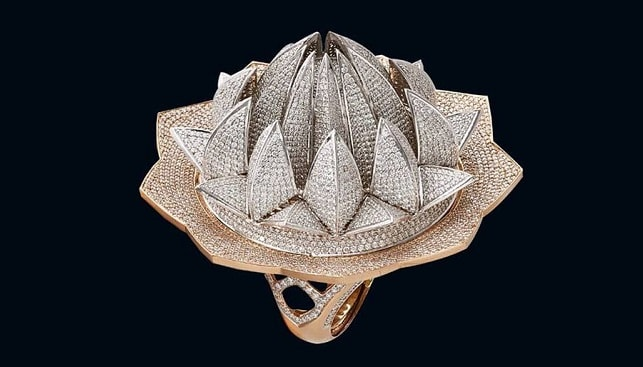 diamond Lotus Temple Ring