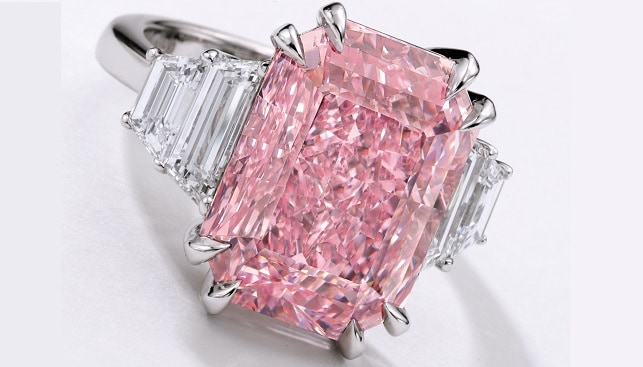 purplish pink diamond ring