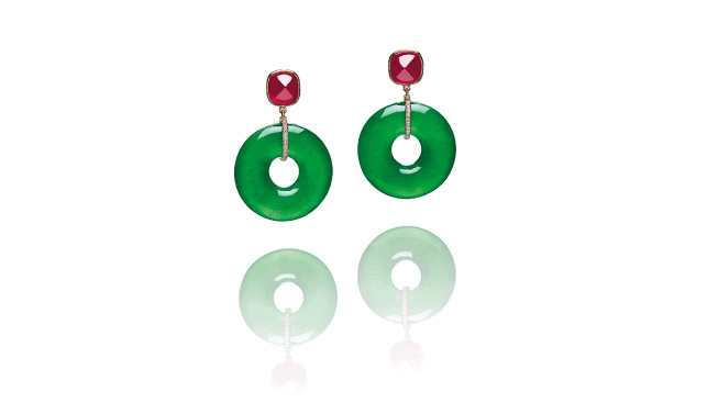 Jadeite Ruby Diamond Earrings Christies