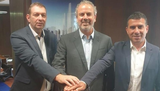 The leaders of the Israeli Diamond Industry – IDI Chairman Boaz Moldawsky (l), IDE President Yoram Dvash and IsDMA President Nissim Zuaretz