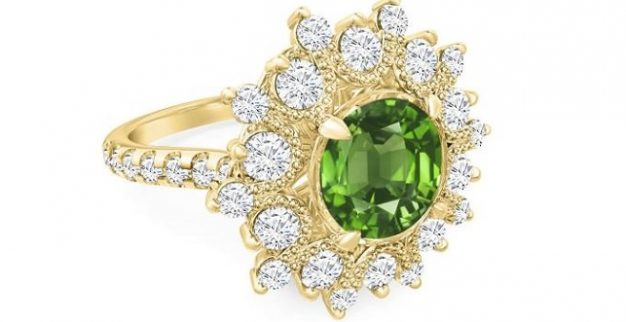 green gem gold diamond ring