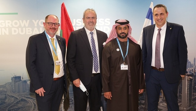 Martin Leake, Yoram Dvash, Ahmed Bin Sulayem and Eran Zini, IDE Managing Director, in DMCC offices at the Israel Diamond Exchange