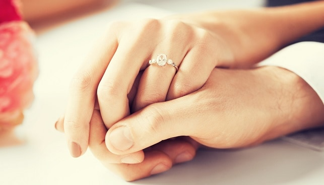 diamond engagement ring coupl