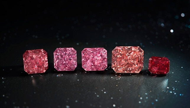 pink and red diamonds from argyle mine by rio tinto